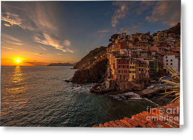 Riomaggiore Sunset Greeting Card by Mike Reid