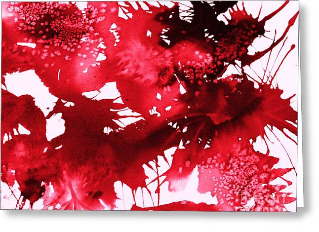 Splashy Greeting Cards - Riot of Red Abstract Greeting Card by Ellen Levinson