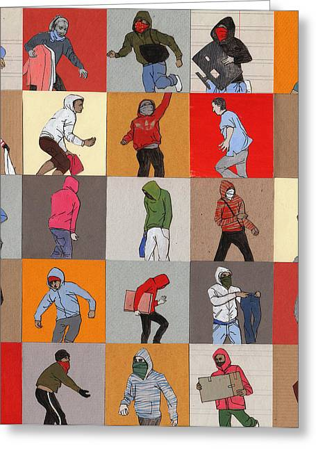 Hoodies Drawings Greeting Cards - Rioters Greeting Card by Eliza Southwood