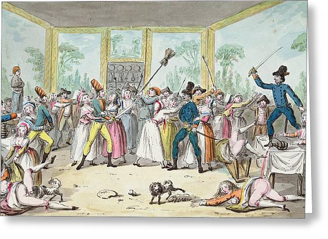 Social Life Photographs Greeting Cards - Riotous Scene In A Tavern During The Period Of The French Revolution, C.1789 Wc On Paper Greeting Card by Etienne Bericourt