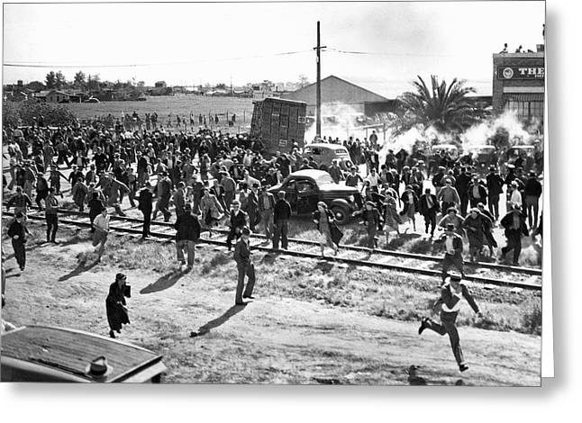 Human Interest Greeting Cards - Riots At Cannery Strike Greeting Card by Underwood Archives