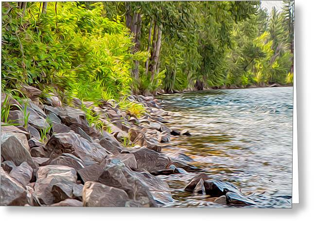 Wolf Creek Greeting Cards - Rip Rap on the Methow River Greeting Card by Omaste Witkowski