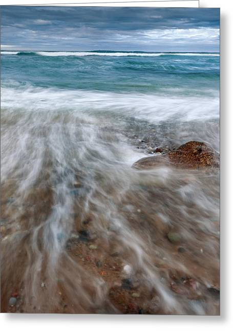 Rip Tide Greeting Cards - Rip Tide Square Greeting Card by Bill  Wakeley