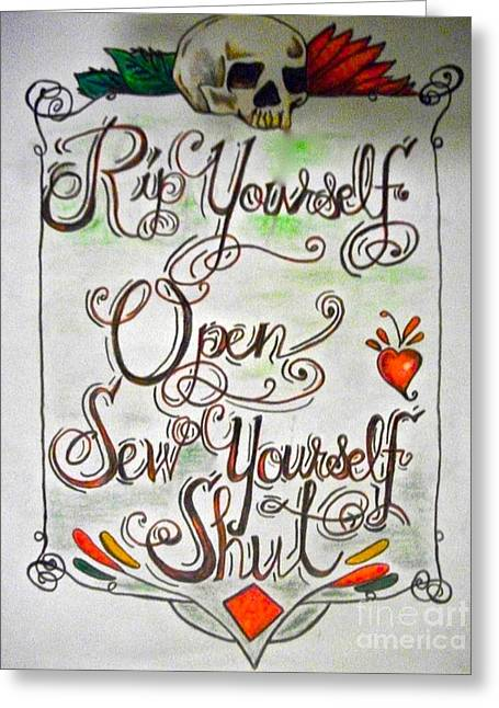 Tattoo Flash Drawings Greeting Cards - Rip yourself open Greeting Card by Funk Art