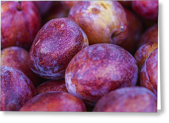 Heart Healthy Photographs Greeting Cards - Ripe and juicy plums Greeting Card by Vishwanath Bhat
