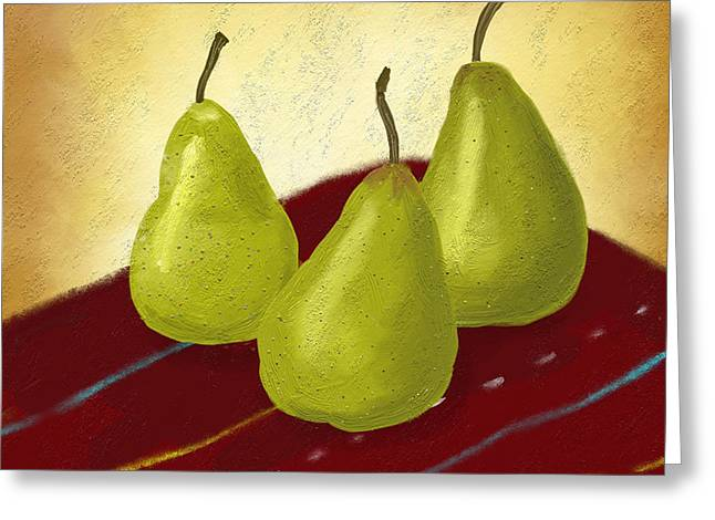 Pear Art Digital Art Greeting Cards - Ripe and Ready painting Greeting Card by Linda Lees