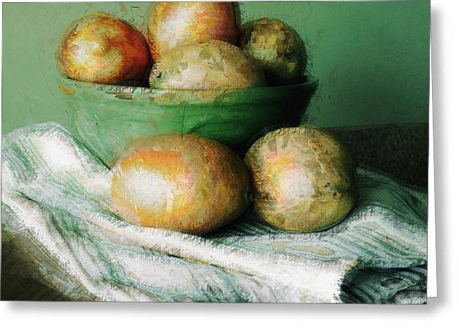 Mango Digital Greeting Cards - Ripe Mangoes in a Bowl Greeting Card by Susan Schroeder