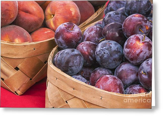 Fresh And Healthy Greeting Cards - Ripe Plum and peaches Greeting Card by Vishwanath Bhat