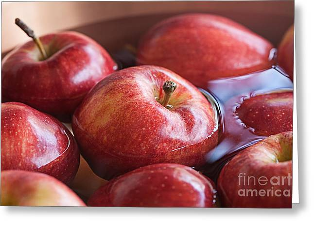 Apples; Bobbing; Apple Greeting Cards - Ripe Red Apples Ready For the Halloween Party Game Bobbing For A Greeting Card by Susan McKenzie