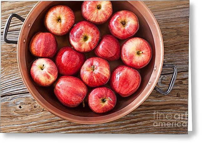 Apples; Bobbing; Apple Greeting Cards - Ripe Red Delicious Apples Ready For The Party Game Bobbing For Apples Greeting Card by Susan McKenzi Delicious Apples Ready For The Halloween Party Game Bobe