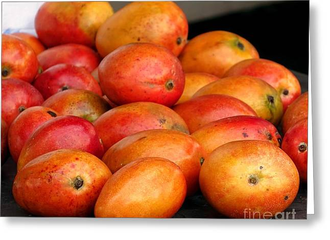 Mango Greeting Cards - Ripe Red Mangoes for Sale Greeting Card by Yali Shi
