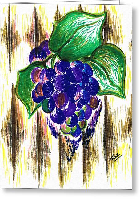 Wooden Ship Drawings Greeting Cards - Ripened Grapes Greeting Card by Teresa White