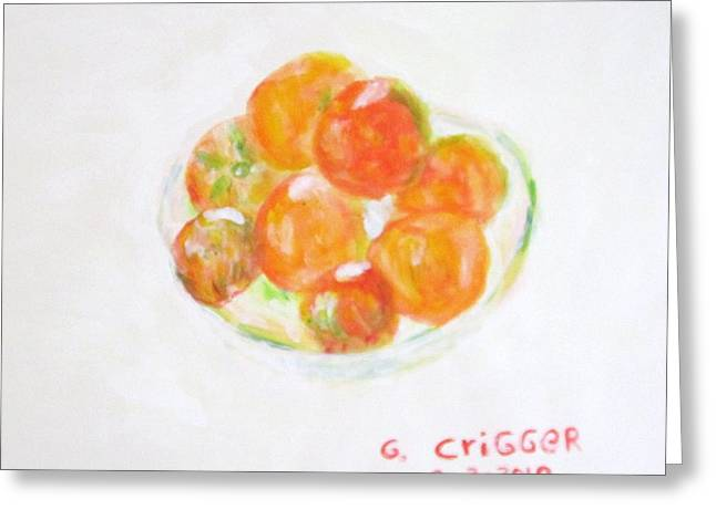 Impressionism Greeting Cards - Ripening Tomatoes Greeting Card by Glenda Crigger