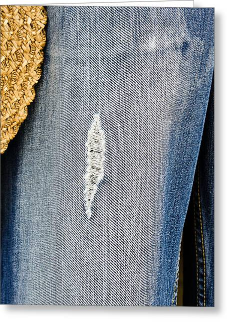Torn Greeting Cards - Ripped denim Greeting Card by Tom Gowanlock