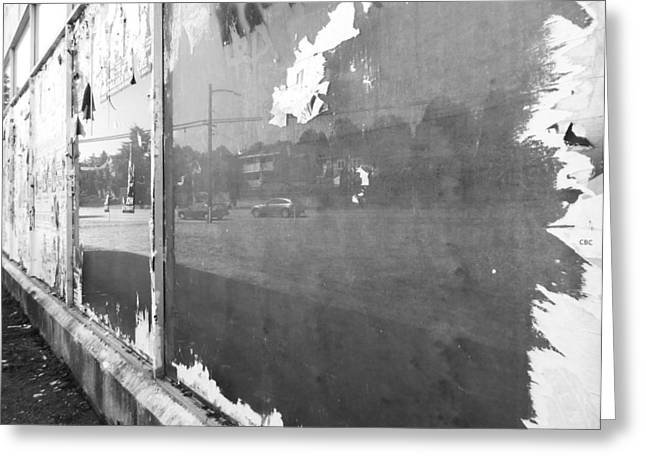 Playbill Greeting Cards - Ripped Reflection BW Greeting Card by Laurie Tsemak