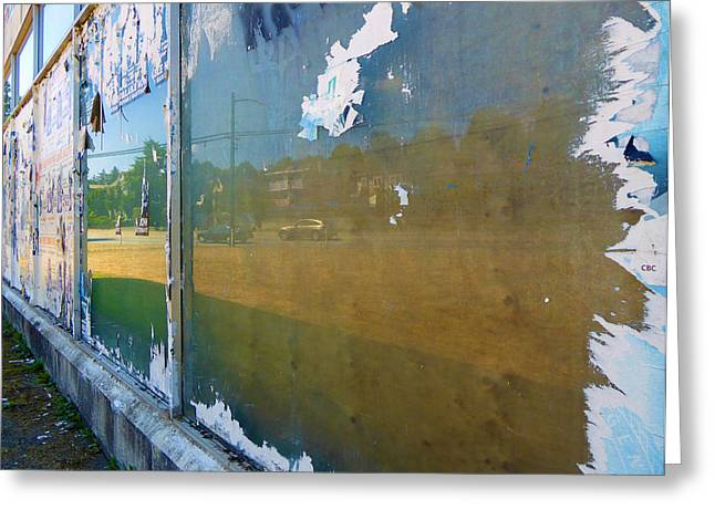 Glass Wall Greeting Cards - Ripped Reflection Greeting Card by Laurie Tsemak