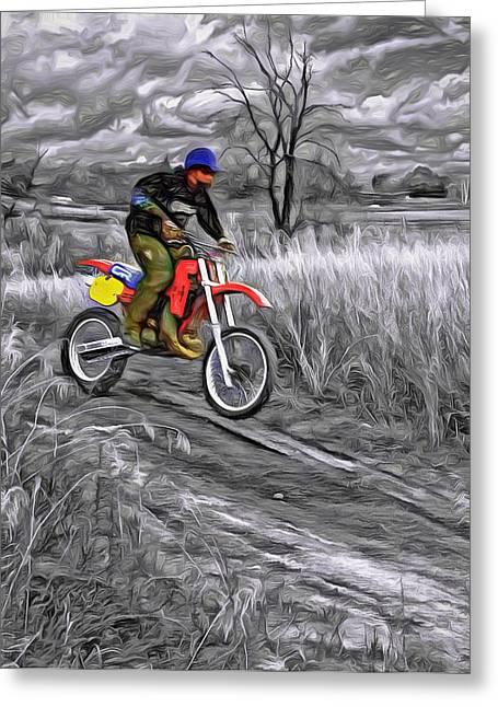 Wheelie Greeting Cards - Rippin - Paint Greeting Card by Steve Harrington