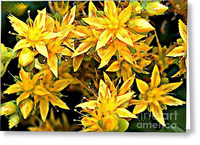 Floral Embellishment Greeting Cards - Rippled Yellow Flowers Greeting Card by Tigerlynx Art