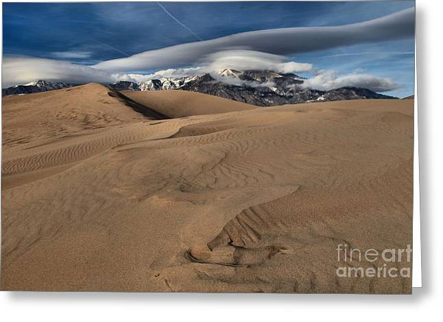 Colorado Sand Dunes Greeting Cards - Ripples Dunes And Clouds Greeting Card by Adam Jewell