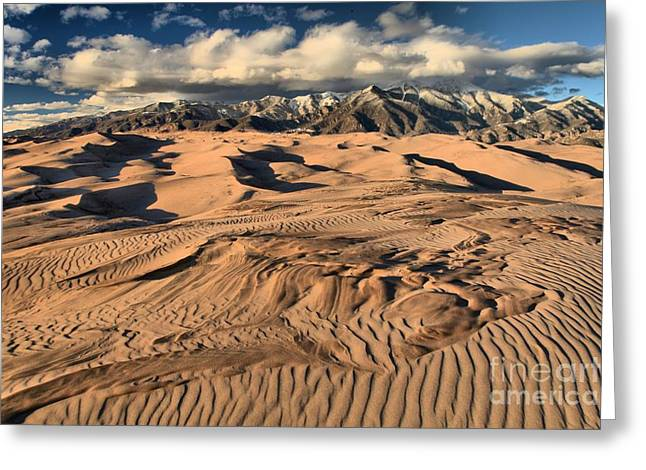 Large Sand Dunes Greeting Cards - Ripples Dunes And Snowcaps Greeting Card by Adam Jewell