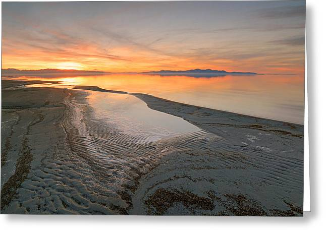 Amazing Sunset Greeting Cards - Ripples in the Sand. Greeting Card by Johnny Adolphson