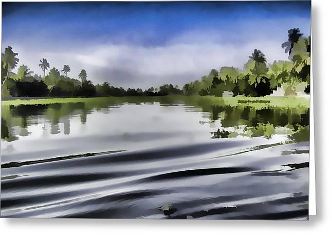 Greenery Greeting Cards - Ripples on the salt water lagoon Greeting Card by Ashish Agarwal
