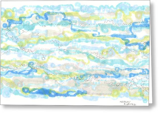 Disk Drawings Greeting Cards - Ripples Greeting Card by Regina Valluzzi