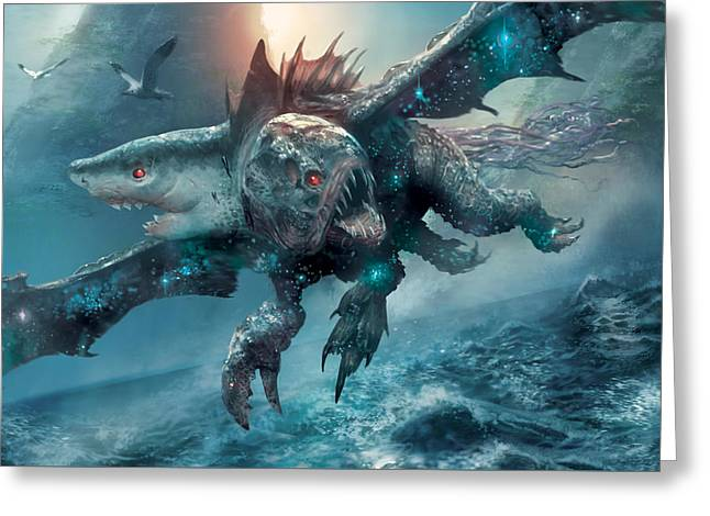 Riptide Chimera Greeting Card by Ryan Barger