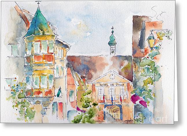 Wine Scene Paintings Greeting Cards - Riquewhir Hotel De Ville Greeting Card by Pat Katz