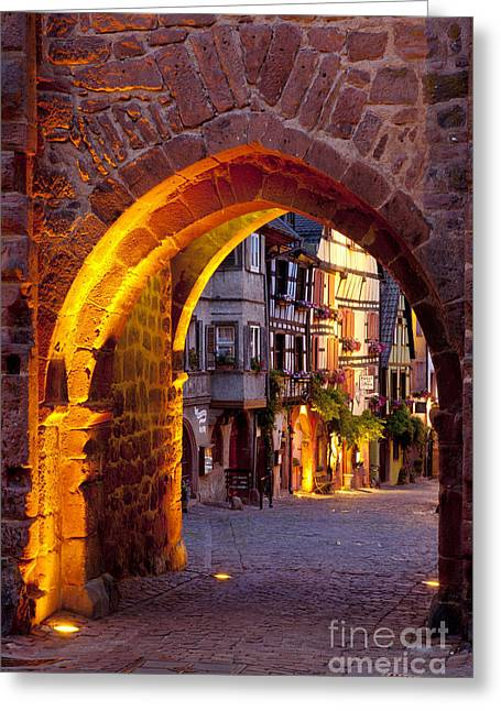 Route Des Vins Greeting Cards - Riquewihr Gate Greeting Card by Brian Jannsen