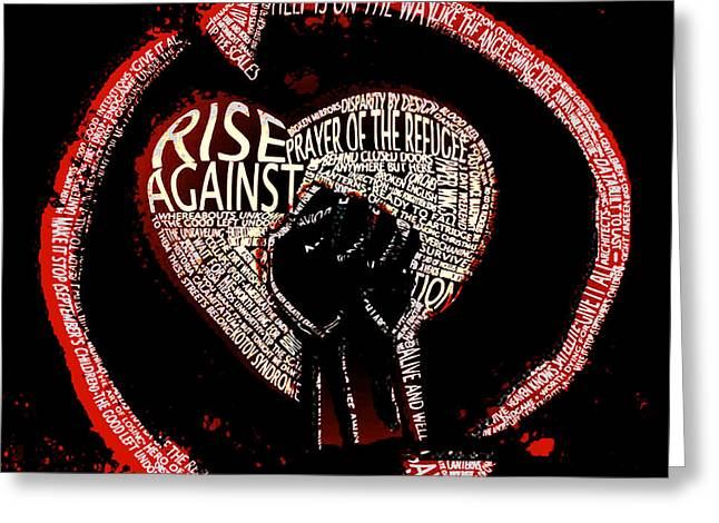 Rise Against Tribute Greeting Card by Andrew Kaupe