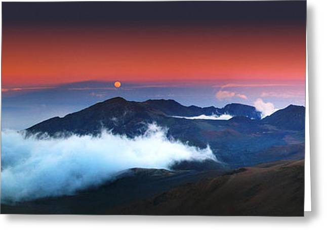 Moonrise Greeting Cards - Rise and Set at Haleakalas Peak  Greeting Card by Marco Crupi