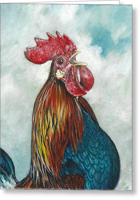 Colorful Rooster Greeting Cards - Rise and Shine Greeting Card by Rob Dreyer AFC