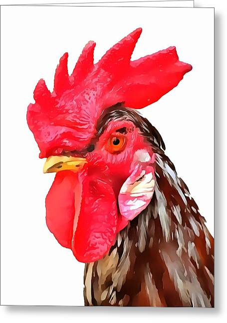 Chicken On Eggs Greeting Cards - Rise And Shine Rooster Greeting Card by Dan Sproul