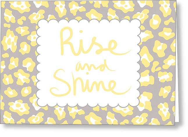 Shine Greeting Cards - Rise and Shine- yellow and grey Greeting Card by Linda Woods