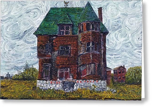 Condemned Paintings Greeting Cards - Rise Detroit Greeting Card by Richard Wandell