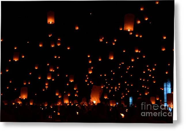 Paper Lantern Greeting Cards - RISE Festival Lanterns 2014 Horizontal Ground and Sky #1 Greeting Card by Heather Kirk