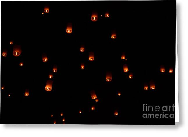 Rice Paper Greeting Cards - RISE Festival Lanterns 2014 horizontal Sky Only Number One Greeting Card by Heather Kirk