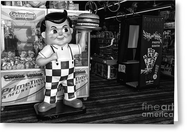 Seaside Heights Greeting Cards - Rise of the Burger Boy mono Greeting Card by John Rizzuto