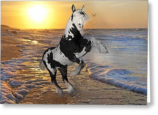 Hoofed Mixed Media Greeting Cards - Rise to the Occasion  Greeting Card by Betsy A  Cutler