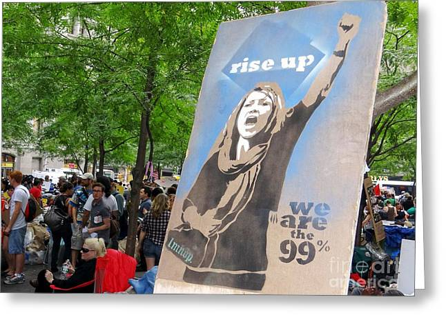 Occupy Greeting Cards - Rise Up Greeting Card by Ed Weidman