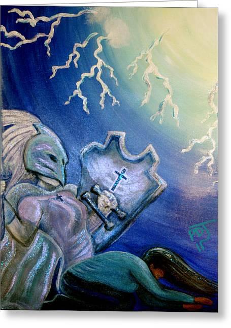 Lightning Strike Paintings Greeting Cards - Rise UP Greeting Card by Pamorama Jones