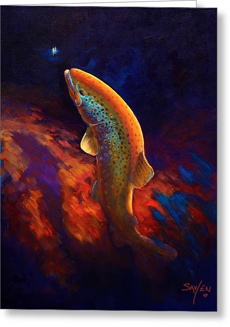 Savlen Greeting Cards - Rising Brown Trout - Chiaroscuro Painting Greeting Card by Mike Savlen