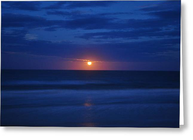 Sea Moon Full Moon Greeting Cards - Rising from Sea to Clouds Greeting Card by Tommy and Pamela Allen