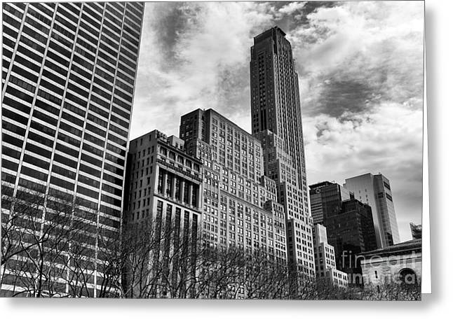Recently Sold -  - Bryant Greeting Cards - Rising in Manhattan mono Greeting Card by John Rizzuto