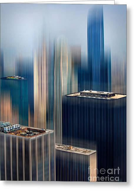 Uptown Rooftop Greeting Cards - Rising Metropolis Greeting Card by Az Jackson