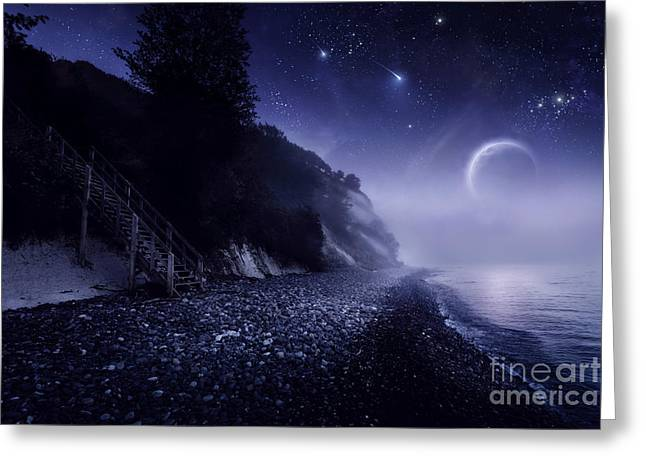Ethereal Beach Scene Greeting Cards - Rising Moon Over Ocean And Mountains Greeting Card by Evgeny Kuklev