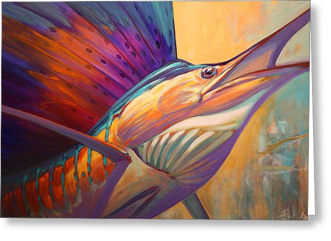 Sportfishing Greeting Cards - Rising Son - Contemporary Sailfish Painting Greeting Card by Mike Savlen