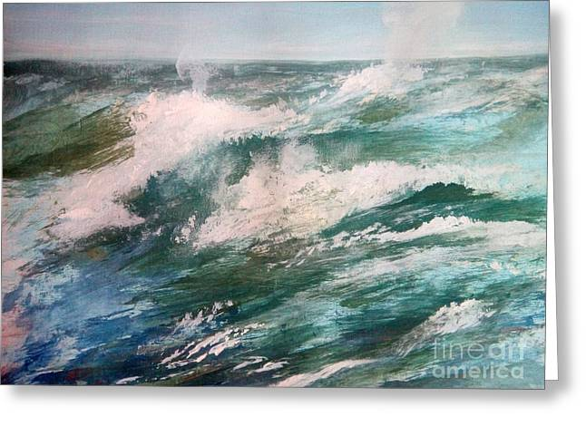 Trilby Cole Greeting Cards - Rising Spume Greeting Card by Trilby Cole