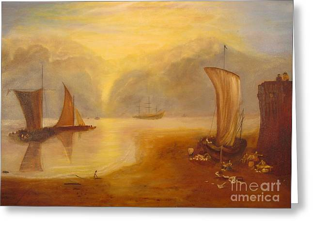 Bay Greeting Cards - Rising Sun in Vapor by Turner  Greeting Card by Anthony Morretta